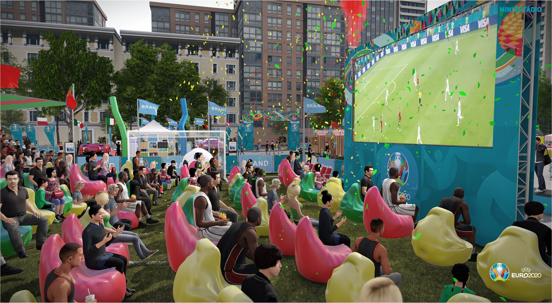 Fun Zone Euro 2020 mini estádio com ecrã gigante led