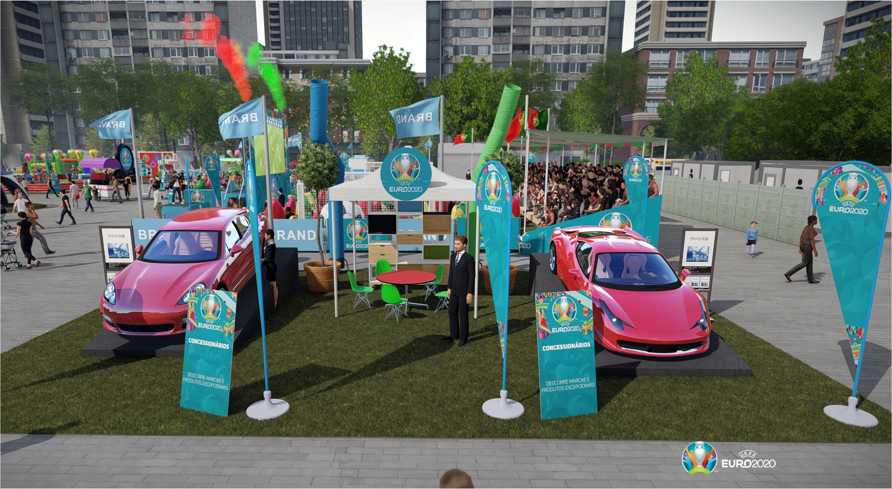 Fun Zone Euro 2020 com exposição automóvel